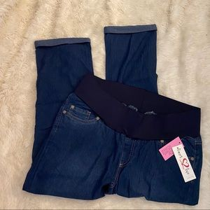 TIMES TWO Maternity denim cuffed jeans Medium NWT